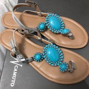BCBGeneration Turquoise Jeweled Sandals